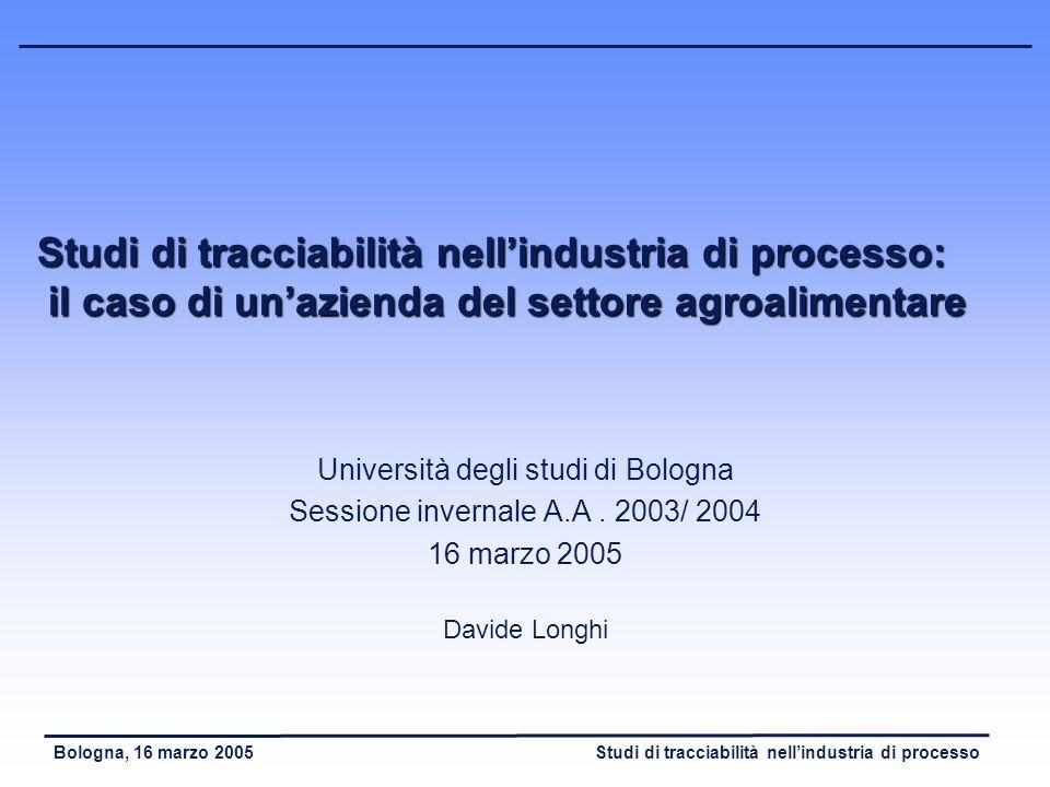 Studi di tracciabilità nellindustria di processoBologna, 16 marzo 2005 Tracciabilità ascendente (1) - Studio e modellizzazione delle fasi di acquisto e ricezione: - Studio dei sistemi di tracciabilità dei fornitori, per stabilire efficaci meccanismi di comunicazione inter – impresa.
