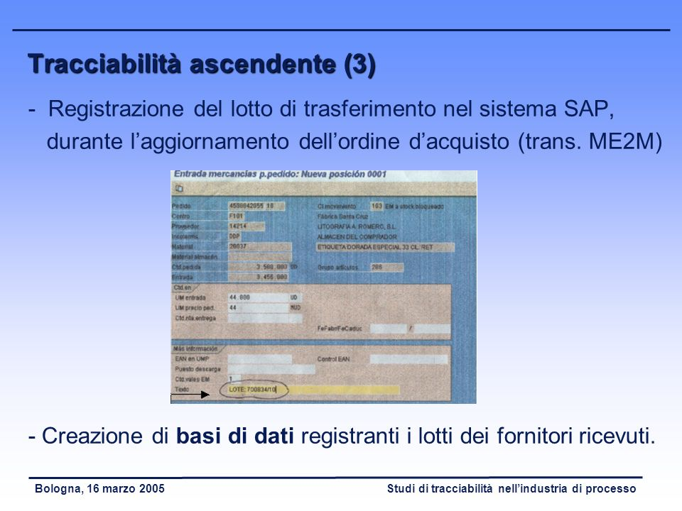 Studi di tracciabilità nellindustria di processoBologna, 16 marzo 2005 Tracciabilità ascendente (2) - Definizione di procedure di identificazione dell