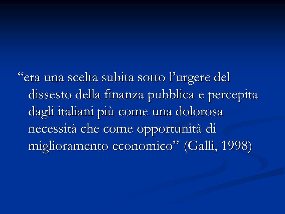 era una scelta subita sotto lurgere del dissesto della finanza pubblica e percepita dagli italiani più come una dolorosa necessità che come opportunit