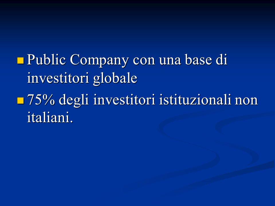 Public Company con una base di investitori globale Public Company con una base di investitori globale 75% degli investitori istituzionali non italiani