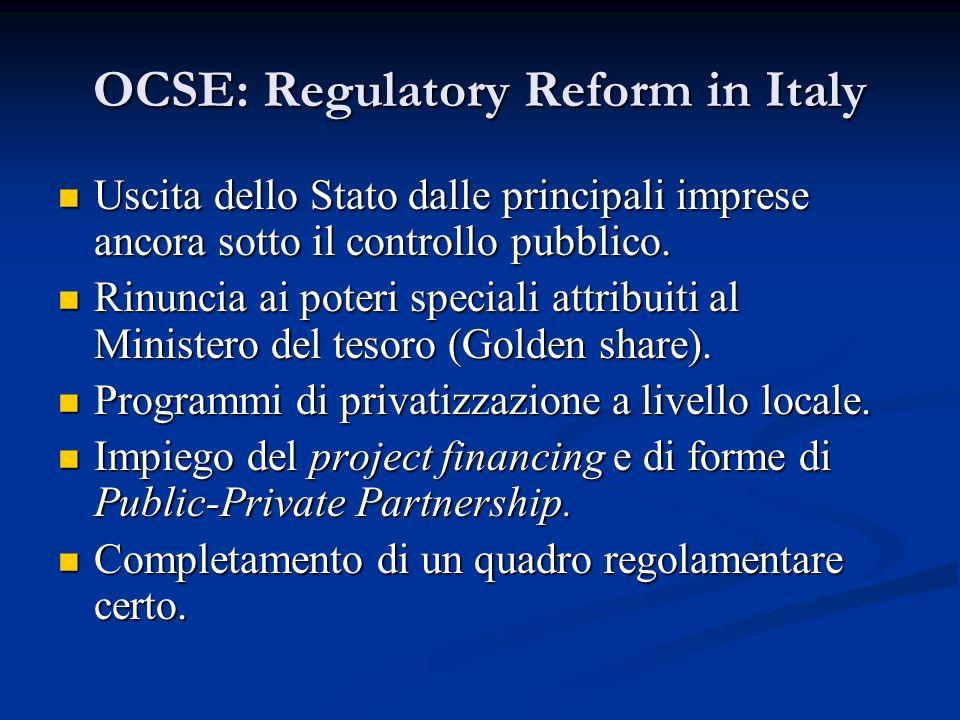 OCSE: Regulatory Reform in Italy Uscita dello Stato dalle principali imprese ancora sotto il controllo pubblico. Uscita dello Stato dalle principali i