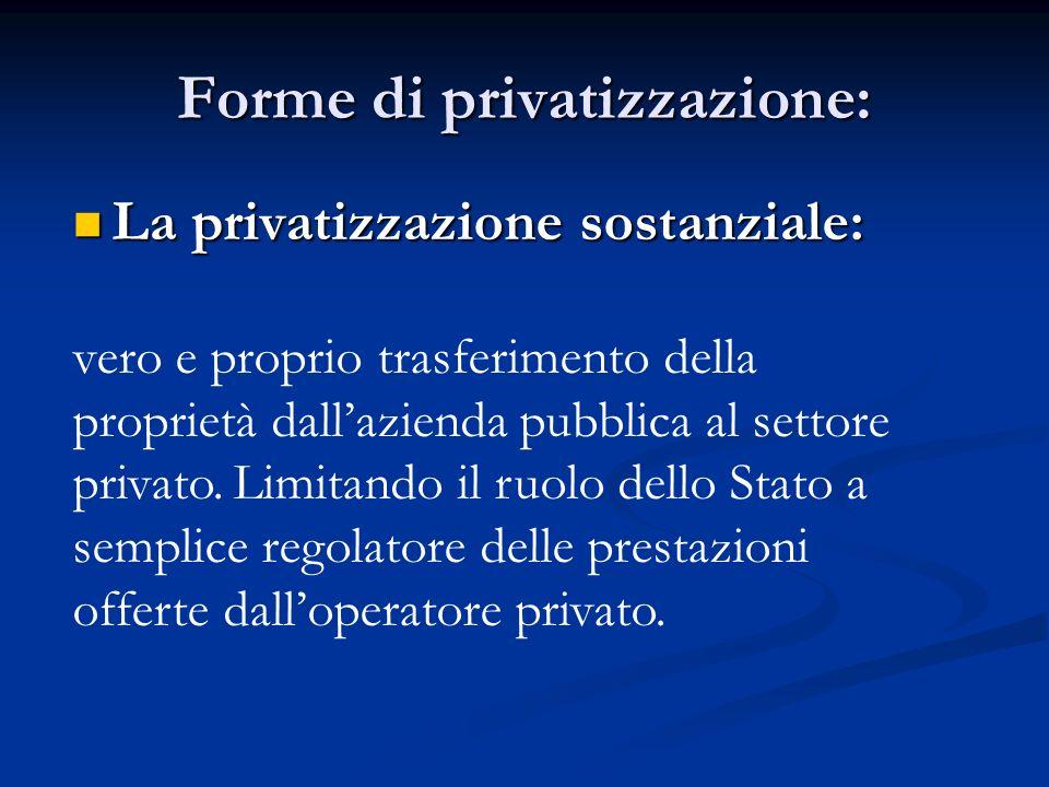 Forme di privatizzazione: La privatizzazione sostanziale: La privatizzazione sostanziale: vero e proprio trasferimento della proprietà dallazienda pub