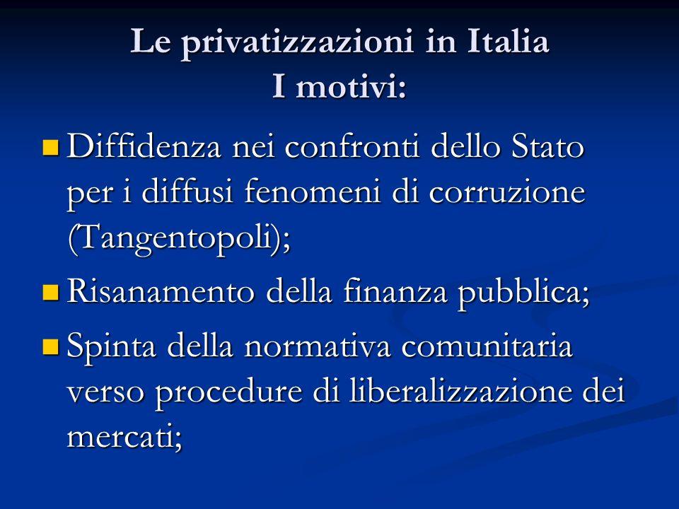 Le privatizzazioni in Italia I motivi: Diffidenza nei confronti dello Stato per i diffusi fenomeni di corruzione (Tangentopoli); Diffidenza nei confro