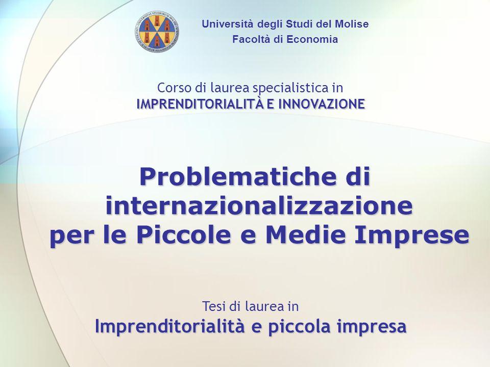 IMPRENDITORIALITÀ E INNOVAZIONE Problematiche di internazionalizzazione per le Piccole e Medie Imprese Imprenditorialità e piccola impresa Corso di la