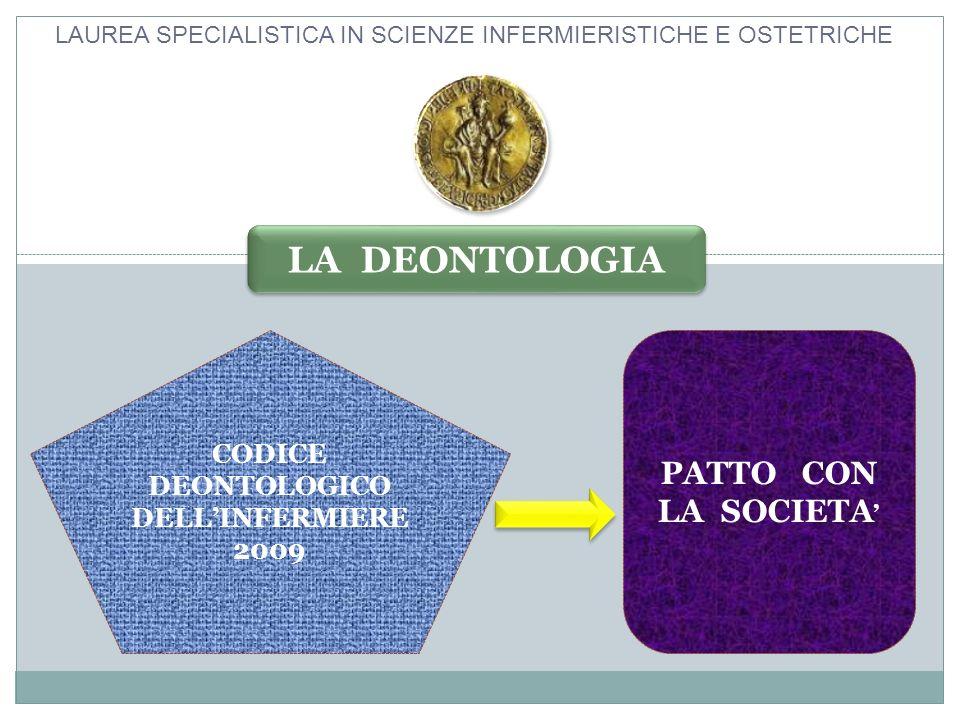 LAUREA SPECIALISTICA IN SCIENZE INFERMIERISTICHE E OSTETRICHE CODICE DEONTOLOGICO DELLINFERMIERE 2009 PATTO CON LA SOCIETA LA DEONTOLOGIA
