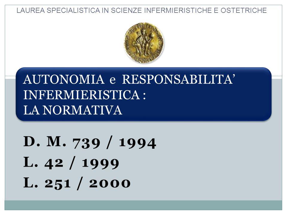 D. M. 739 / 1994 L. 42 / 1999 L. 251 / 2000 AUTONOMIA e RESPONSABILITA INFERMIERISTICA : LA NORMATIVA LAUREA SPECIALISTICA IN SCIENZE INFERMIERISTICHE