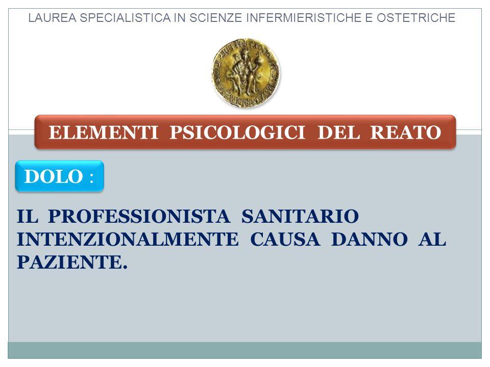 IL PROFESSIONISTA SANITARIO INTENZIONALMENTE CAUSA DANNO AL PAZIENTE. LAUREA SPECIALISTICA IN SCIENZE INFERMIERISTICHE E OSTETRICHE DOLO : ELEMENTI PS
