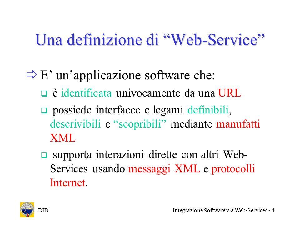DIBIntegrazione Software via Web-Services - 4 Una definizione di Web-Service E unapplicazione software che: è identificata univocamente da una URL pos