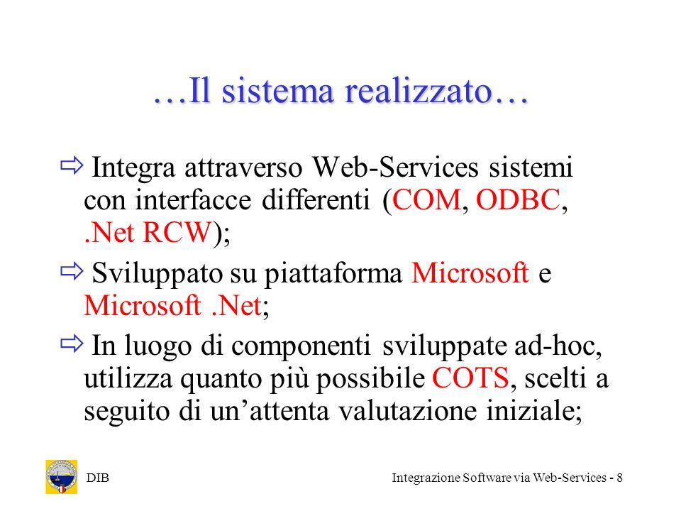 DIBIntegrazione Software via Web-Services - 9 …Il sistema realizzato