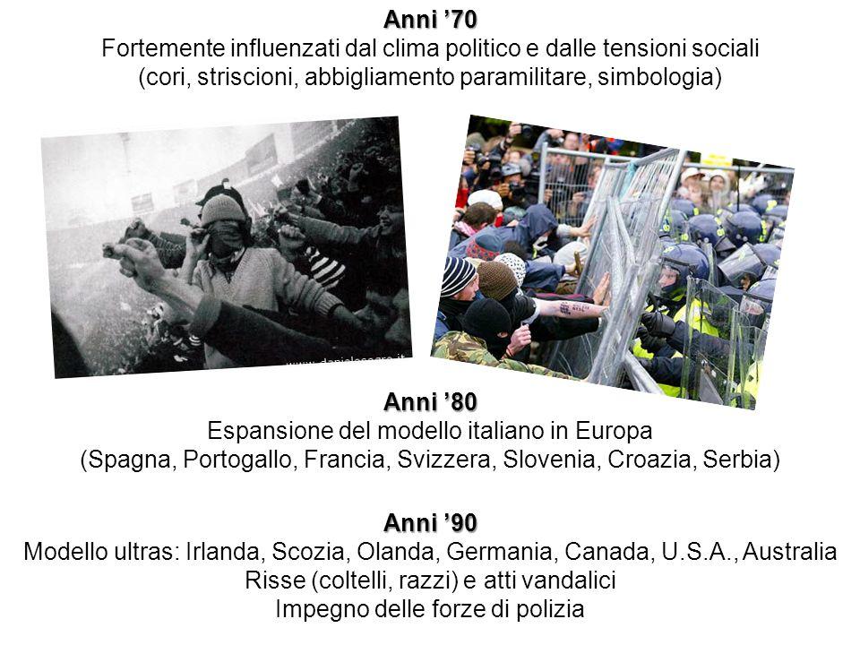 Anni 70 Fortemente influenzati dal clima politico e dalle tensioni sociali (cori, striscioni, abbigliamento paramilitare, simbologia) Anni 80 Espansio
