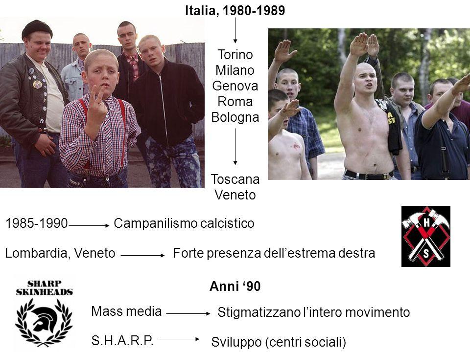 Italia, 1980-1989 Torino Milano Genova Roma Bologna Toscana Veneto 1985-1990Campanilismo calcistico Lombardia, VenetoForte presenza dellestrema destra