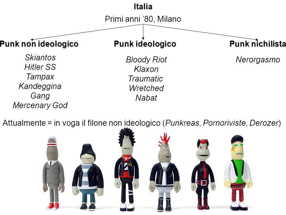 Italia Primi anni 80, Milano Punk non ideologico Punk ideologico Punk nichilista Skiantos Hitler SS Tampax Kandeggina Gang Mercenary God Bloody Riot K
