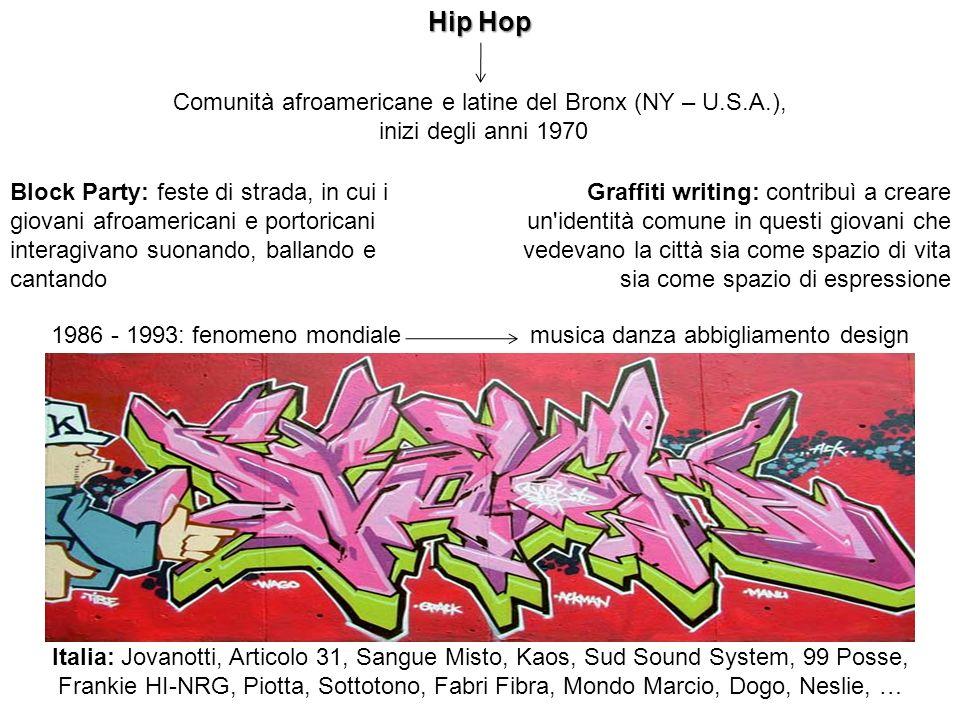 Comunità afroamericane e latine del Bronx (NY – U.S.A.), inizi degli anni 1970 Hip Hop Block Party: feste di strada, in cui i giovani afroamericani e