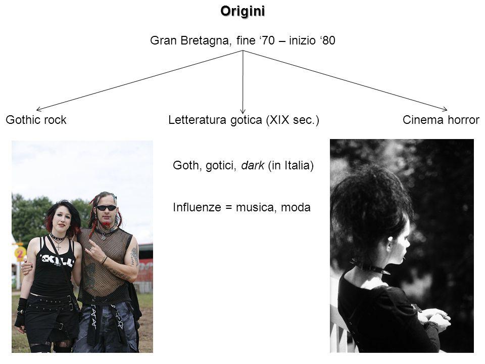 Gran Bretagna, fine 70 – inizio 80Origini Gothic rockLetteratura gotica (XIX sec.)Cinema horror Goth, gotici, dark (in Italia) Influenze = musica, mod