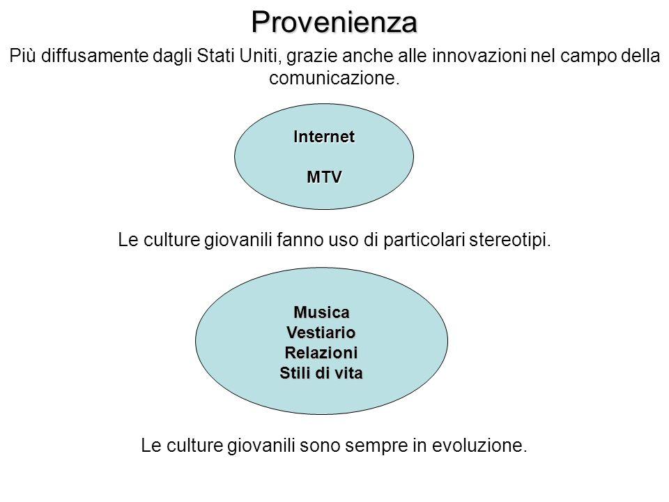 Più diffusamente dagli Stati Uniti, grazie anche alle innovazioni nel campo della comunicazione.ProvenienzaInternetMTV Le culture giovanili fanno uso