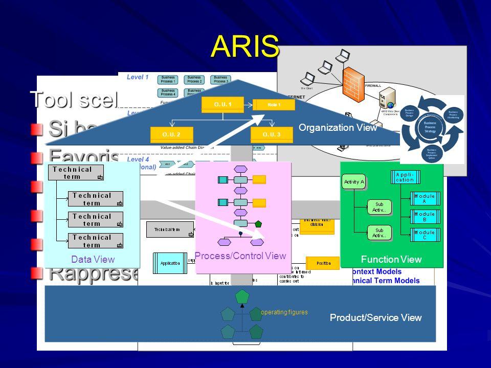 Tool scelto per la mappatura: Si basa su una metodologia di BPM Favorisce lanalisi Scalabile DB centralizzato Diversi livelli di dettaglio Rappresentazione delle informazioni su viste separate Function View Process/Control View Data View Organization View Product/Service View O.