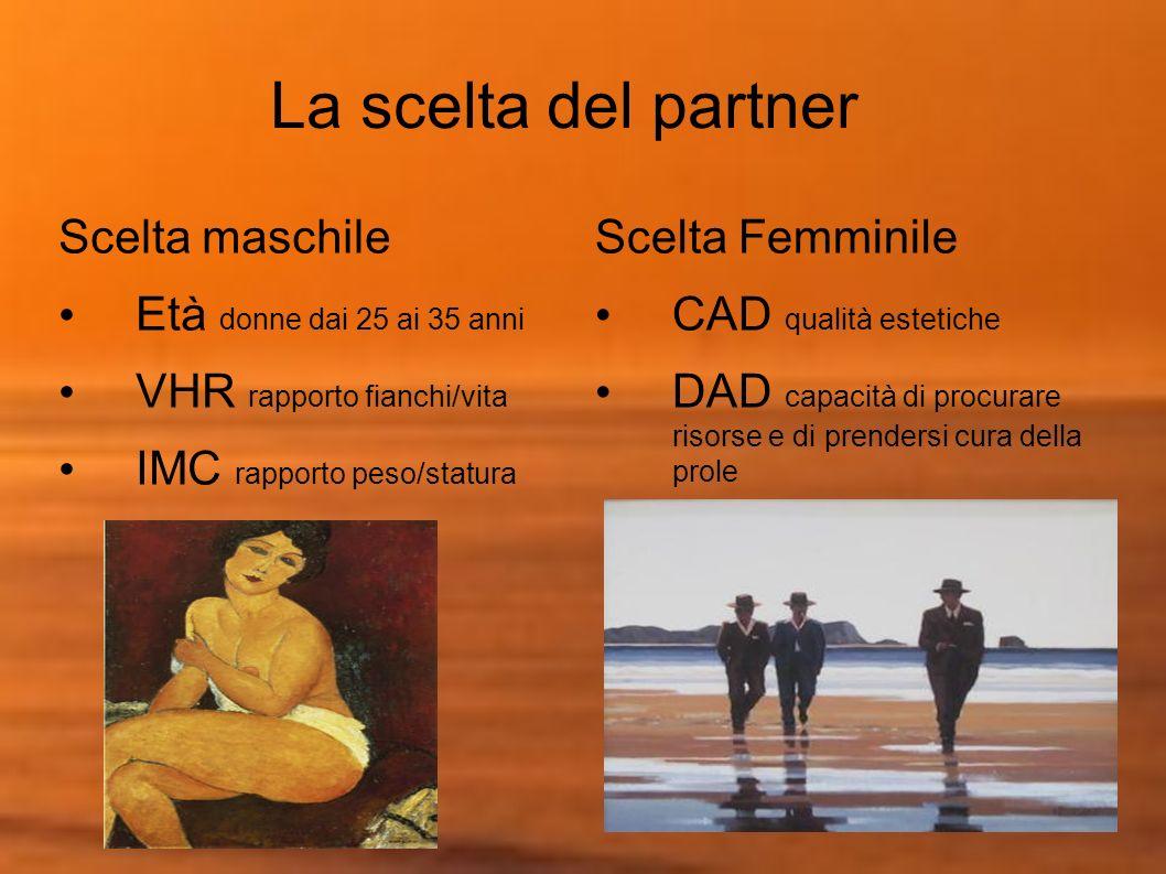 La scelta del partner Scelta maschile Età donne dai 25 ai 35 anni VHR rapporto fianchi/vita IMC rapporto peso/statura Scelta Femminile CAD qualità est