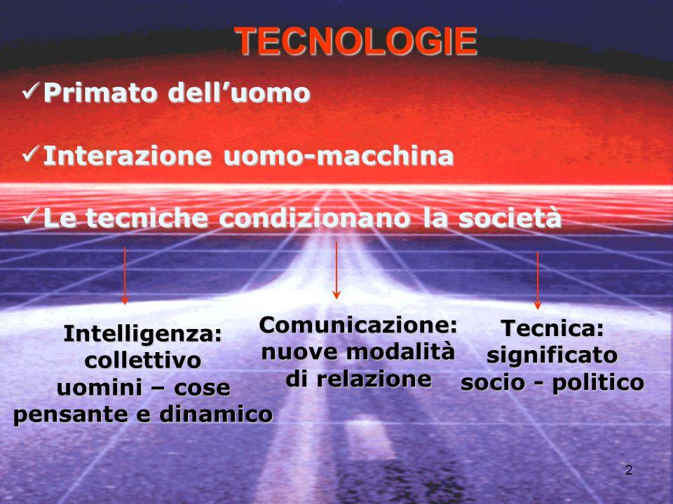 2 Intelligenza:collettivo uomini – cose pensante e dinamico TECNOLOGIE Tecnica:significato socio - politico Comunicazione: nuove modalità di relazione Primato delluomo Primato delluomo Interazione uomo-macchina Interazione uomo-macchina Le tecniche condizionano la società Le tecniche condizionano la società