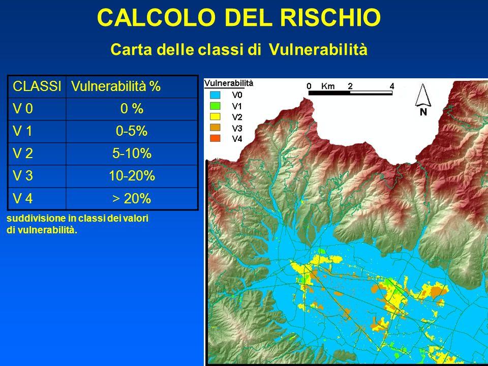 CALCOLO DEL RISCHIO Carta delle classi di Vulnerabilità CLASSIVulnerabilità % V 00 % V 10-5% V 25-10% V 310-20% V 4> 20% suddivisione in classi dei va