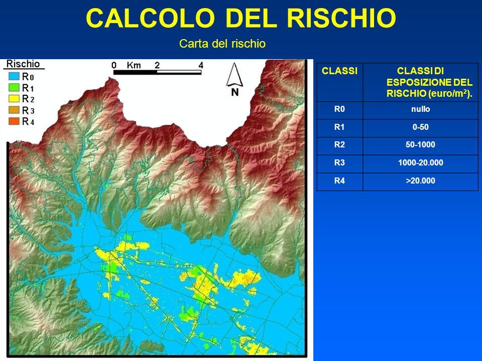 CALCOLO DEL RISCHIO CLASSICLASSI DI ESPOSIZIONE DEL RISCHIO (euro/m 2 ). R0nullo R10-50 R250-1000 R31000-20.000 R4>20.000 Carta del rischio