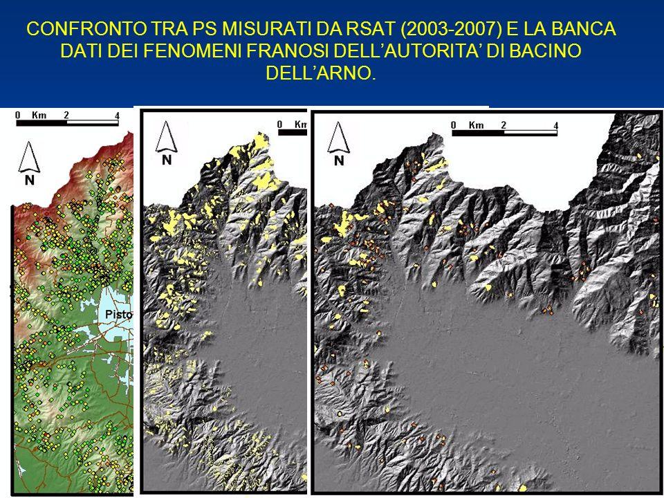 CONFRONTO TRA PS MISURATI DA RSAT (2003-2007) E LA BANCA DATI DEI FENOMENI FRANOSI DELLAUTORITA DI BACINO DELLARNO.