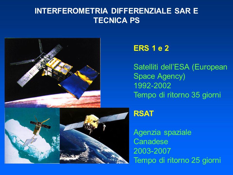 INTERFEROMETRIA DIFFERENZIALE SAR E TECNICA PS ERS 1 e 2 Satelliti dellESA (European Space Agency) 1992-2002 Tempo di ritorno 35 giorni RSAT Agenzia s