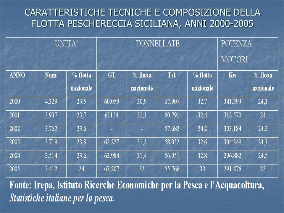 CARATTERISTICHE TECNICHE E COMPOSIZIONE DELLA FLOTTA SICILIANA, PICCOLA PESCA, ANNI 2000-2005
