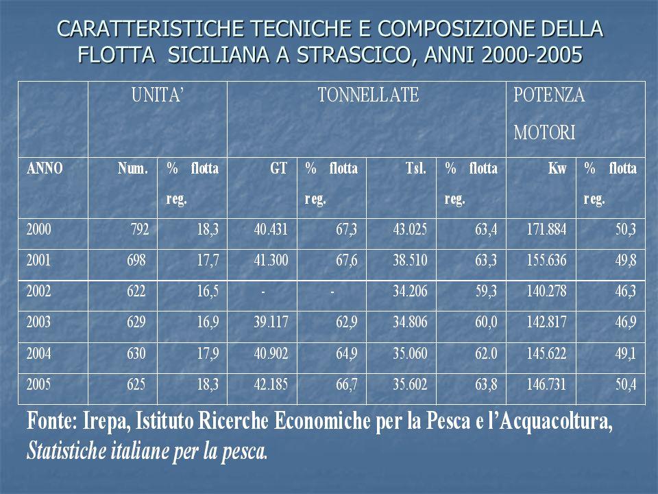 CARATTERISTICHE TECNICHE E COMPOSIZIONE DELLA FLOTTA SICILIANA A STRASCICO, ANNI 2000-2005