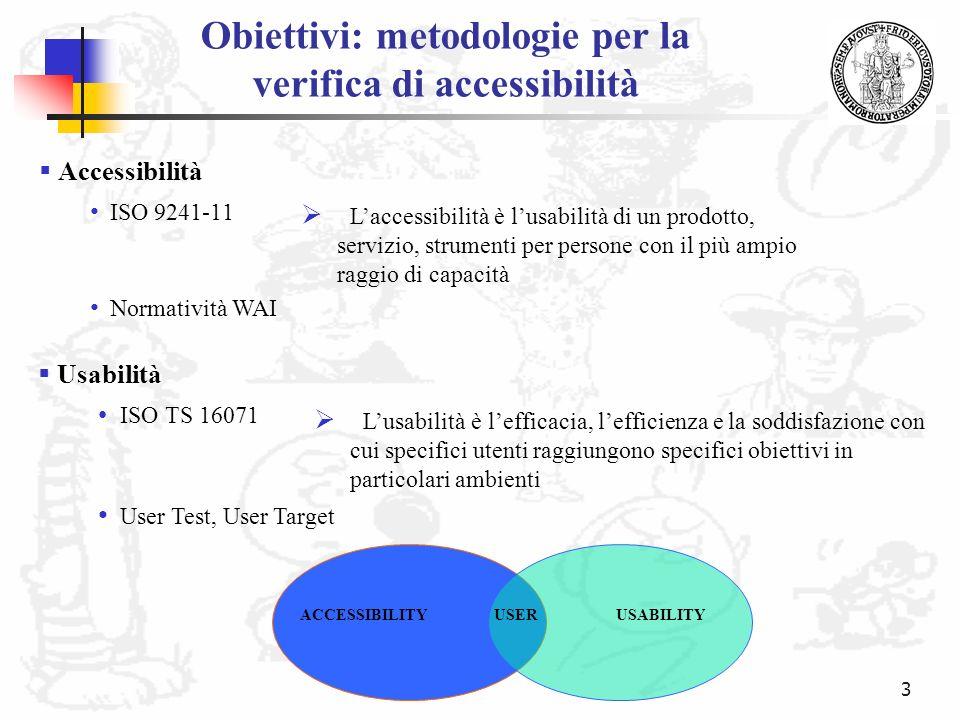 3 Obiettivi: metodologie per la verifica di accessibilità ISO 9241-11 Lusabilità è lefficacia, lefficienza e la soddisfazione con cui specifici utenti