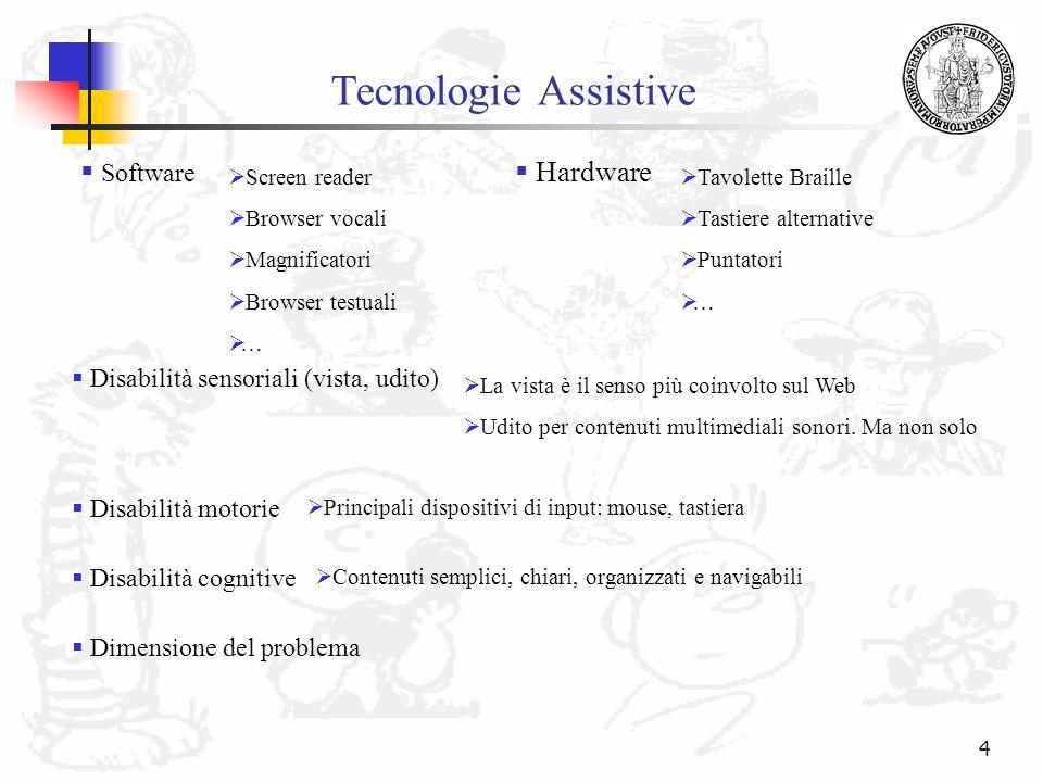 4 Tecnologie Assistive Software Screen reader Browser vocali Magnificatori Browser testuali … Hardware Tavolette Braille Tastiere alternative Puntator