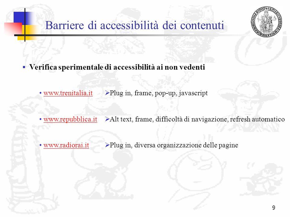 9 Barriere di accessibilità dei contenuti www.trenitalia.it www.repubblica.it www.radiorai.it Plug in, frame, pop-up, javascript Alt text, frame, diff