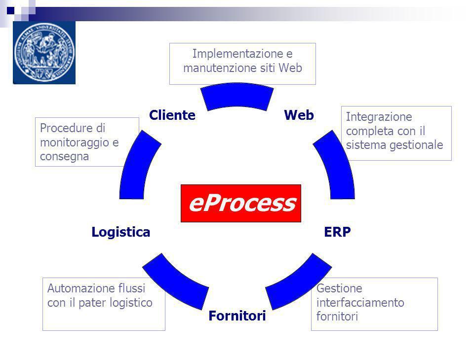 Automazione flussi con il pater logistico Gestione interfacciamento fornitori Integrazione completa con il sistema gestionale Implementazione e manutenzione siti Web Procedure di monitoraggio e consegna eProcess