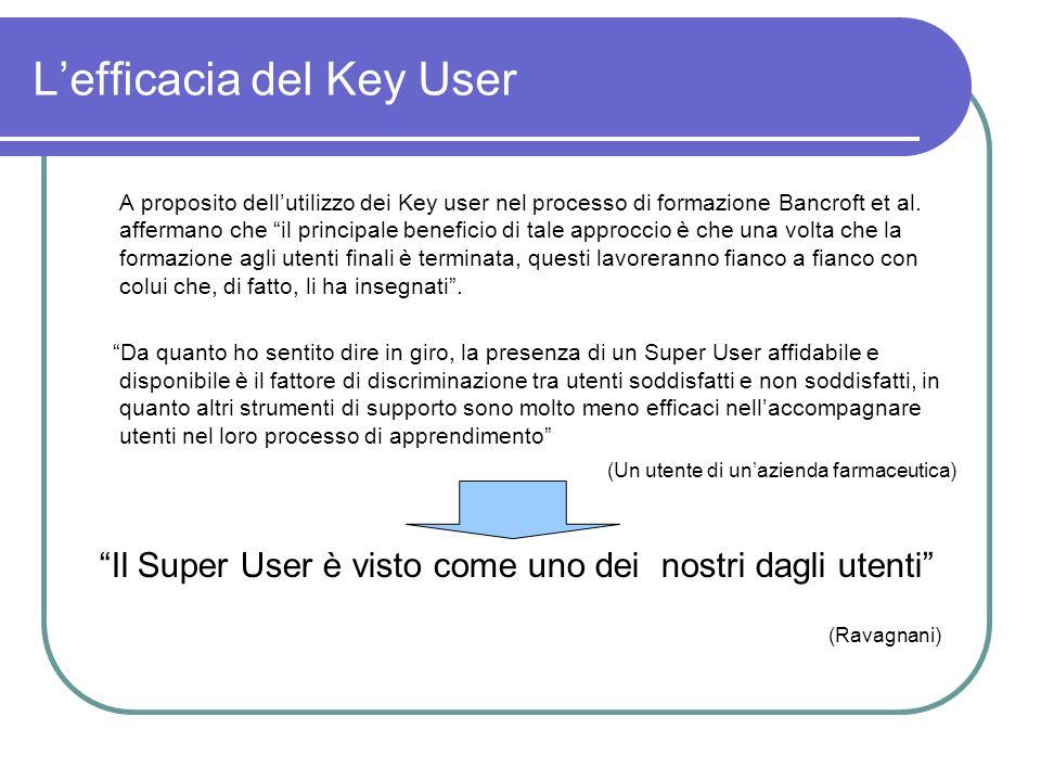 Lefficacia del Key User A proposito dellutilizzo dei Key user nel processo di formazione Bancroft et al. affermano che il principale beneficio di tale