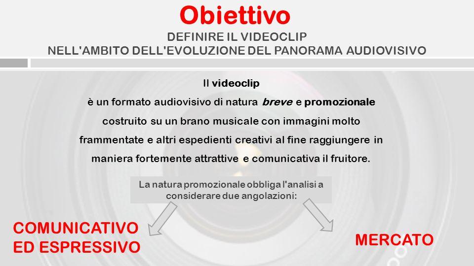 Obiettivo COMUNICATIVO ED ESPRESSIVO MERCATO DEFINIRE IL VIDEOCLIP NELL'AMBITO DELL'EVOLUZIONE DEL PANORAMA AUDIOVISIVO La natura promozionale obbliga