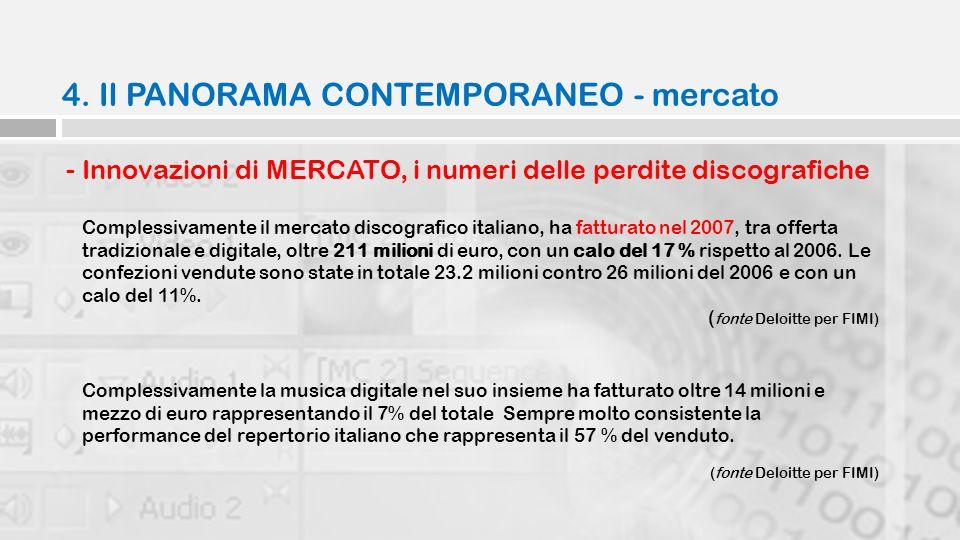 4. Il PANORAMA CONTEMPORANEO - mercato - Innovazioni di MERCATO, i numeri delle perdite discografiche Complessivamente il mercato discografico italian
