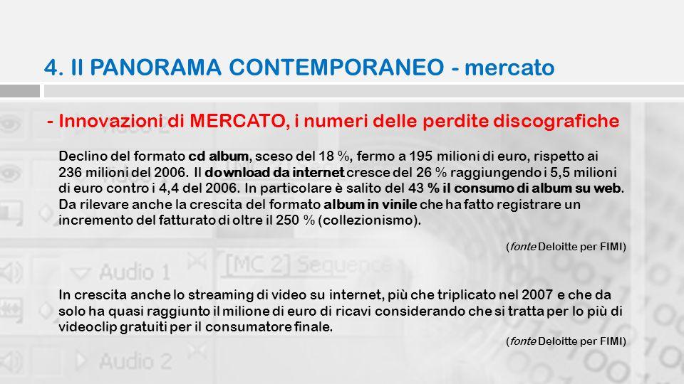 4. Il PANORAMA CONTEMPORANEO - mercato - Innovazioni di MERCATO, i numeri delle perdite discografiche Declino del formato cd album, sceso del 18 %, fe