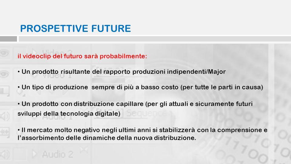 PROSPETTIVE FUTURE il videoclip del futuro sarà probabilmente: Un prodotto risultante del rapporto produzioni indipendenti/Major Un tipo di produzione