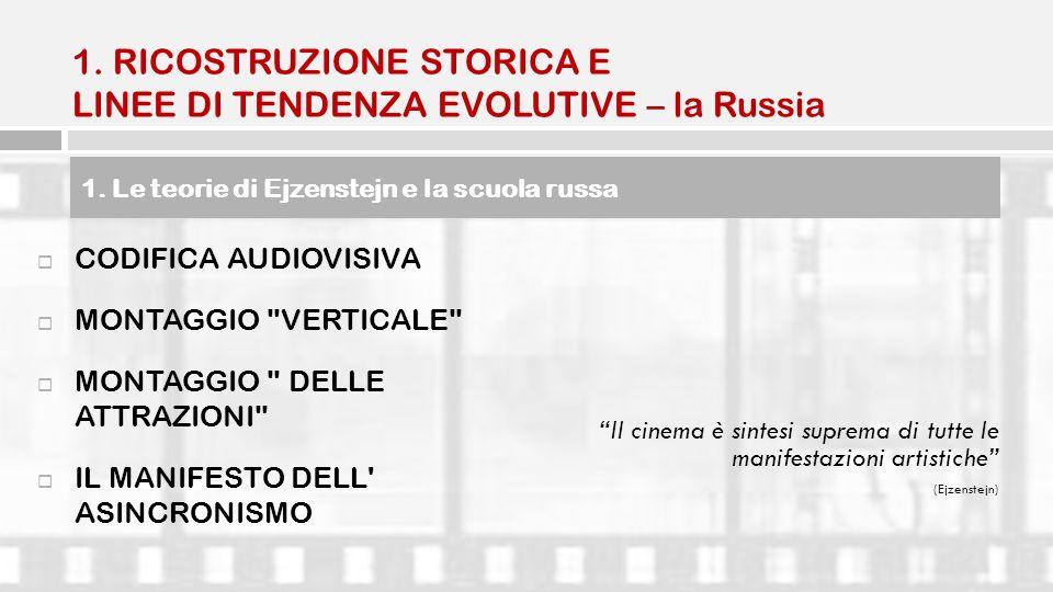 1. RICOSTRUZIONE STORICA E LINEE DI TENDENZA EVOLUTIVE – la Russia CODIFICA AUDIOVISIVA MONTAGGIO