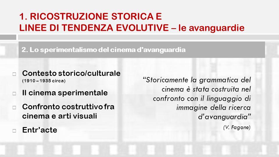 2. Lo sperimentalismo del cinema d'avanguardia Contesto storico/culturale (1910 – 1935 circa) Il cinema sperimentale Confronto costruttivo fra cinema
