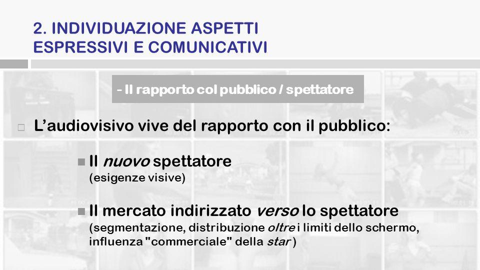 2. INDIVIDUAZIONE ASPETTI ESPRESSIVI E COMUNICATIVI Laudiovisivo vive del rapporto con il pubblico: Il nuovo spettatore (esigenze visive) Il mercato i