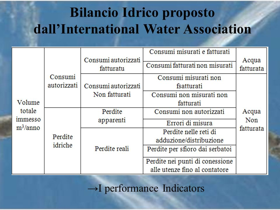 Bilancio Idrico proposto dallInternational Water Association I performance Indicators