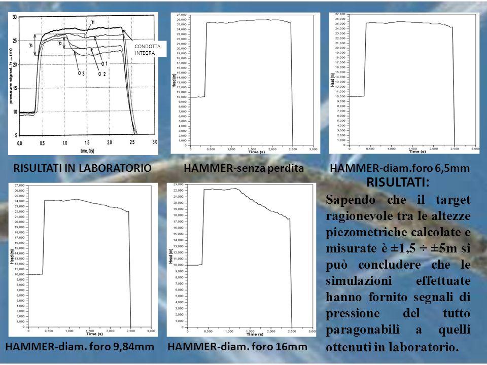 Simulazioni numeriche a breve e lungo periodo con variazione dellentità della perdita e materiale delle condotte (tubi di ghisa e acciaio).