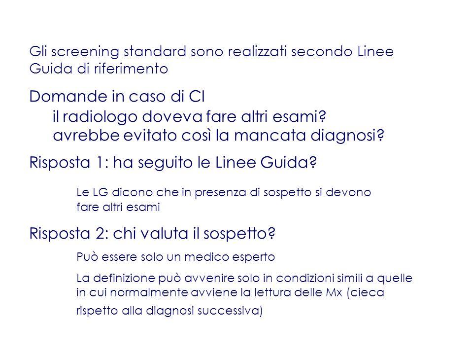 Gli screening standard sono realizzati secondo Linee Guida di riferimento Domande in caso di CI il radiologo doveva fare altri esami.