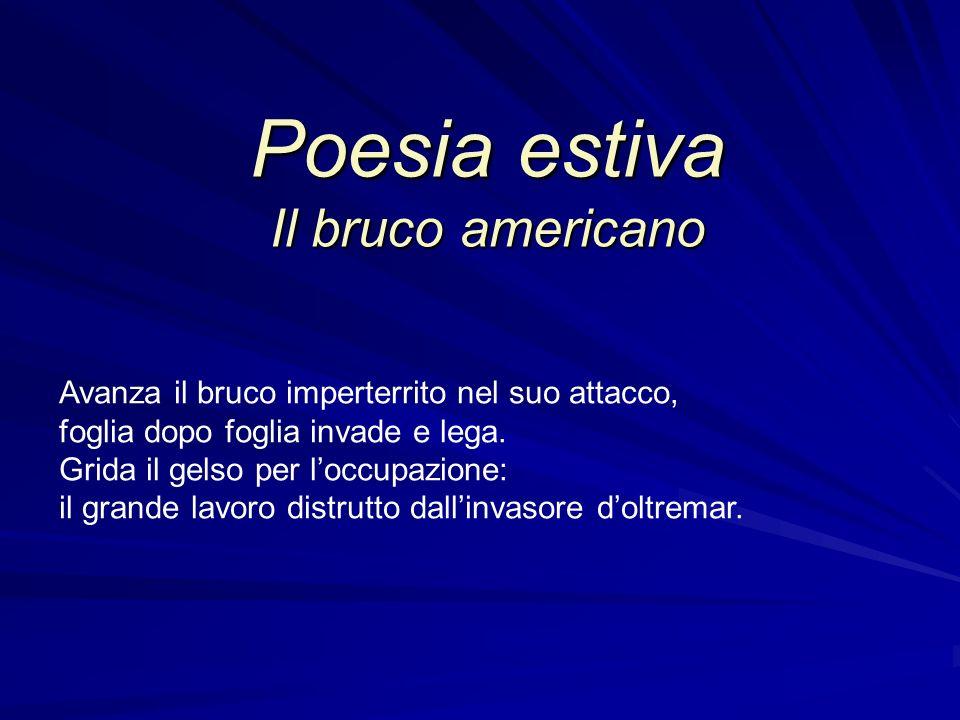 Poesia estiva Il bruco americano Avanza il bruco imperterrito nel suo attacco, foglia dopo foglia invade e lega. Grida il gelso per loccupazione: il g