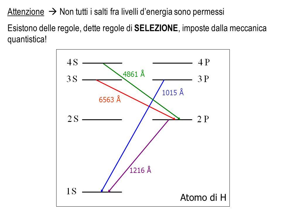 Il Cielo come laboratorio- Spettroscopia delle nebulose- 2008 Attenzione Non tutti i salti fra livelli denergia sono permessi Esistono delle regole, d