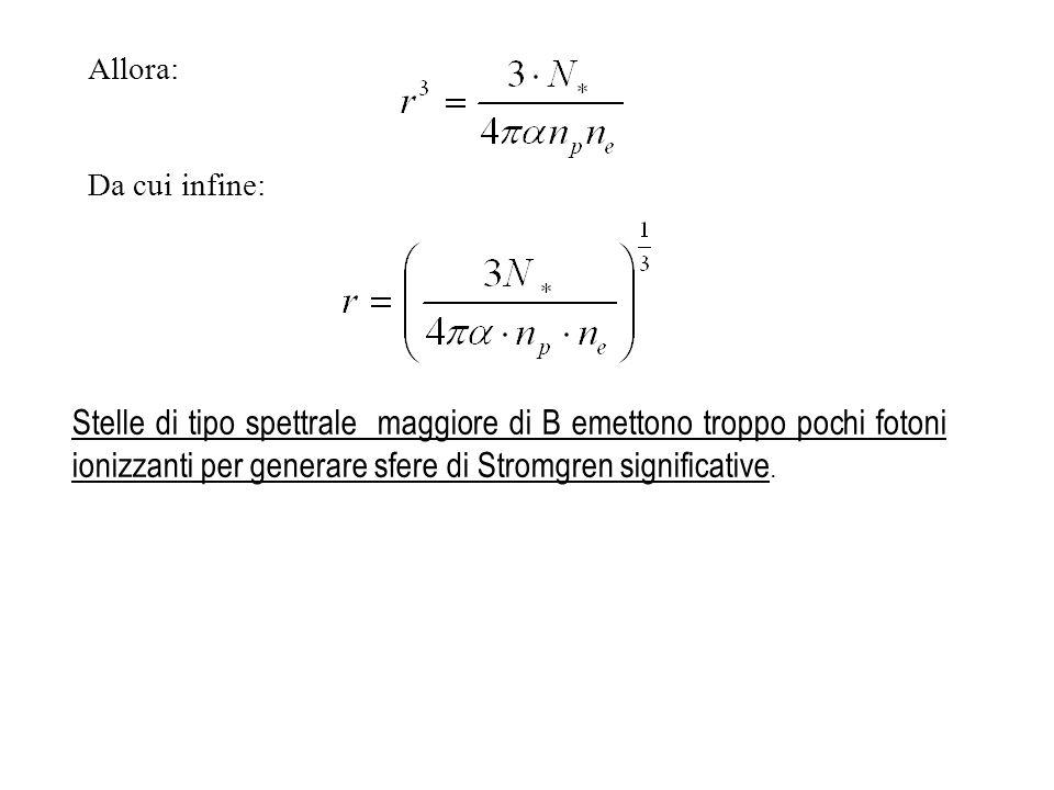 Stelle di tipo spettrale maggiore di B emettono troppo pochi fotoni ionizzanti per generare sfere di Stromgren significative. Allora: Da cui infine:
