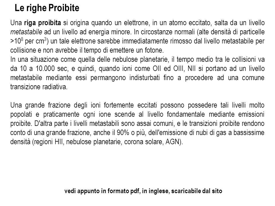 Le righe Proibite Una riga proibita si origina quando un elettrone, in un atomo eccitato, salta da un livello metastabile ad un livello ad energia min