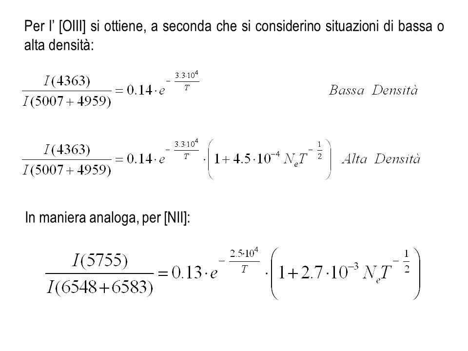 Per l [OIII] si ottiene, a seconda che si considerino situazioni di bassa o alta densità: In maniera analoga, per [NII]: