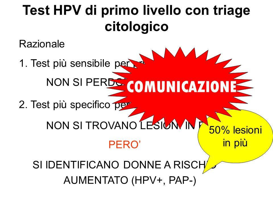 Test HPV di primo livello con triage citologico Razionale 1. Test più sensibile per primo: NON SI PERDONO LESIONI 2. Test più specifico per secondo: N