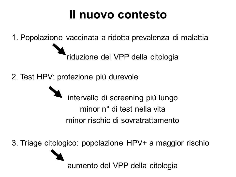 1. Popolazione vaccinata a ridotta prevalenza di malattia riduzione del VPP della citologia 2. Test HPV: protezione più durevole intervallo di screeni
